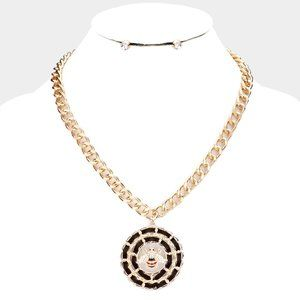 Honey Bee Suede Round Pendant Necklace Set